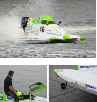 Mehrere Fotos des Boots vom Rennen in Rendsburg