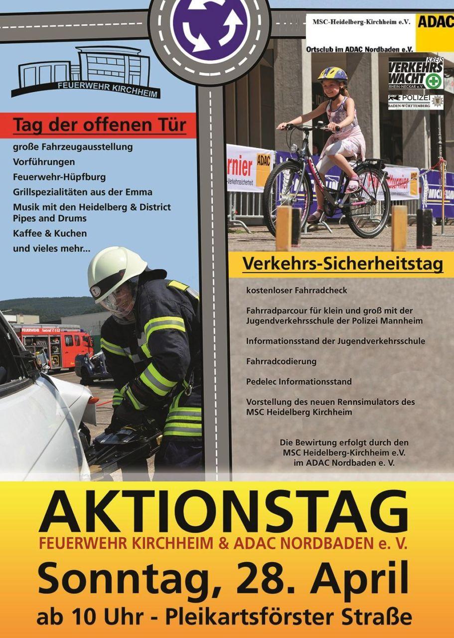 Plakat zur Ankündigung des Verkehrsicherheitstags und dem Tag der offenen Türen der Feuerwehr